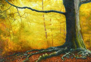 Autumnal Coloumn With An Uphold Hand by AldemButcher