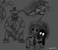 FNAF Sketches by WolfOfTheMoons