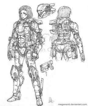 Commission - Armored Girl by MeganeRid