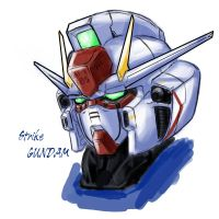 Strike Gundam head study by V2Buster