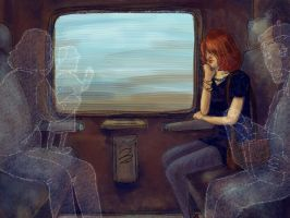 Asleep on the Ghost Train- enonea by childrensillustrator