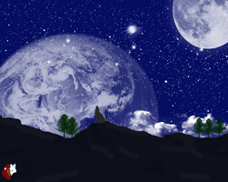 Mountain Space Background by liongirl2289