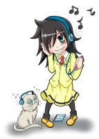 Tomoko Kuroki and The Grumpy Beat Cat! by Ray-D-Sauce