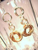 Silver-Gold Mobius Earrings by littlemissysg