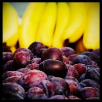 Plums and bananas by 7oran