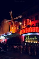 Moulin Rouge by night. by Bunnis