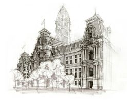 Philadelphia City Hall Sketch by CueQQ