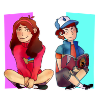 Dipper and Mabel by awokenbyacloud
