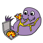 Purple Walrus eating pizza by cystemic