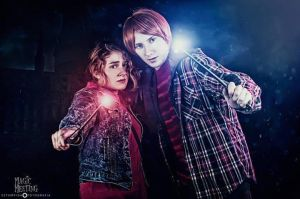 Ron Weasley  Hermione Granger - Battle of Hogwarts by ElTanitoGrimes