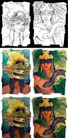 Aztec Gods The Process by Rowen-silver