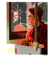Self Portrait on the Metro by wick-y
