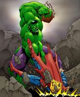 Hulk vs. Supes by Jrascoe