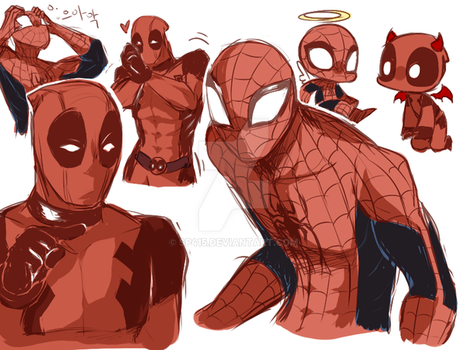 Deadpool and Spidey by sp415