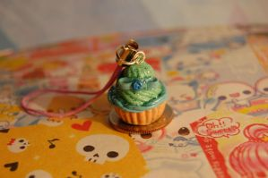 Polymer Clay Teal Cupcake by FatCatCharms
