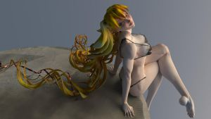 3-D (seated) by DrawUsCloser