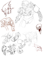 Tyranid, Halo, Demon Sketches by JulioNicoletti