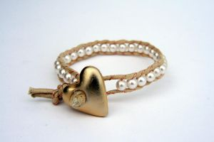 White pearl bead wrapped heart Recycled bracelet by Louness26