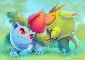 Best Friends: Ivysaur and Quilladin by eldrige