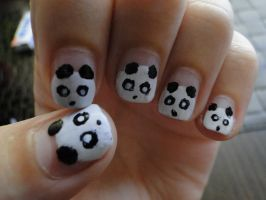 Panda Nails by KariInlove