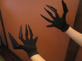 Black Frequency Costume Claws-complete by Redrosesforever