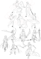 Vali and Enganis pose sketches by 3-X-E
