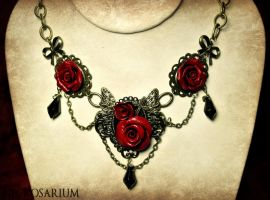 Butterfly Roses Necklace by Necrosarium