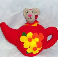Plush Doormouse in teapot by CreativeCritters
