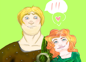 Merida and MacGuffin by lallyzippo