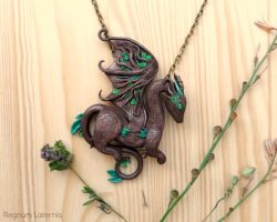 Earth Dragon necklace - tree inspired dragon art by RegnumLaternis