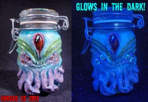 Cthulhu Converted Glass Stash Jar by Undead-Art