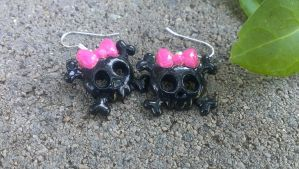 Pink And Black Skull earrings by Rini-Dragoone