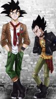 punkish goku and vegeta by 0kalcia0
