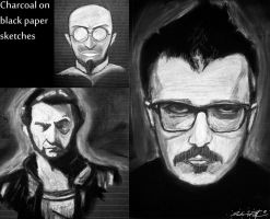 Charcoal sketches by Valashard