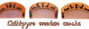 Wooden combs with animals by ChibiPyro