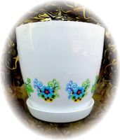 Flower pots with images, painting - printing by naraosart