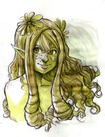 Green Fairy Elve watercolors by MarisaArtist