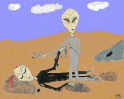 Roswell Crash EBEs Drawing by terrya7