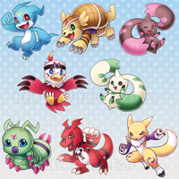 Digimon Season 2 and 3 Charm Designs by RinTheYordle