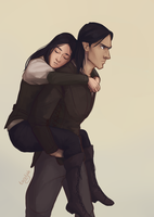 Elide and Lorcan Piggyback by taratjah