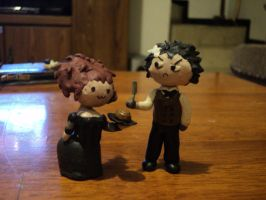 Mrs Lovett and Sweeney Todd chibi version by Marilovett