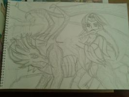 Current wip (dragonlady and dragon) by lustyvampire