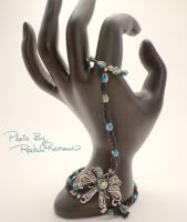 Matte Black Seed Bead and Teal Bow Set 33 by TheSortedBead