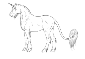 proud standing unicorn lines by FallenShandeh
