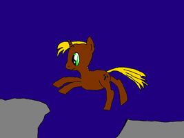 pony jumping over chasm by PhantomGamer21