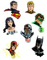 Justice League Headshots by TimelessUnknown