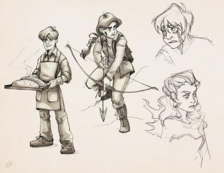 Katniss and Peeta sketches by Luthie13