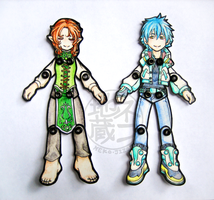 Jointed Paper Dolls - commission samples by nekojizou