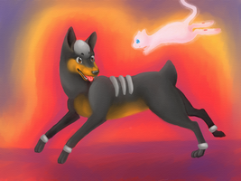 Houndour and Mew Playing by PacificPikachu