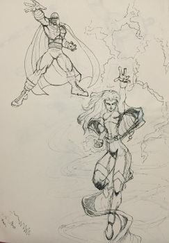 Magneto and Storm by Artfoundry